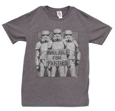 Star Wars Storm Troopers Available for Parties Vintage Inspired Adult Charcoal TShirt Adult Medium * More info could be found at the image url.