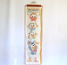Disney Donald Duck Cross Stitch Growth Chart Wall Hanging Art VTG Kid Room Decor