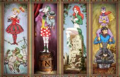 "In ""Haunted Arkham Asylum,"" artist Abraham Lopez has imagined heroes and villains from the Batman series into stretching portraits à la Disney's Haunted Mansion attraction. The fi… Haunted Mansion Disney, Batman Hero, I Am Batman, Batman Stuff, Batman Robin, Batman Cartoon, Batman Arkham, Cartoon Art, Bruce Timm"