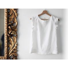 Women's shell top in white linen. Made in Italy. Sizes S to XL. Made... ($69) ❤ liked on Polyvore featuring tops