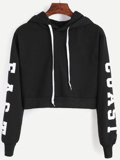 Black Hooded Letters Print Crop SweatshirtFor Women-romwe