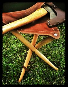 New! Wood & Leather Folding Tripod Camp Stool. Camp furniture doesn't come any simpler than this classic folding tripod stool in wood and leather. A simple but clever design allows the tr...