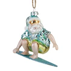 Surfing Father Christmas baubles Christmas Baubles, Christmas Tree, Coastal Christmas, Father Christmas, Surfing, Halloween, Holiday Decor, Decoration, Glass