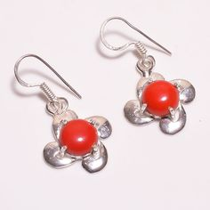 LOVELY & AWESOME VINTAGE STYLE CORAL .925 SILVER HANDMADE JEWELRY EARRING JA249 #Handmade