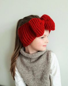 Red headband big bow headband knit headband ear warmer spring accessories gift for her head wrap girls head band women outfit Cute winter accessory for ladies from toddlers up to women:) Choose your size using drop down menu. Red Headband, Head Wrap Headband, Knitted Headband, Crochet Beanie, Crochet Baby, Knitted Hats, Bow Headbands, Crochet Headbands, Grands Arcs