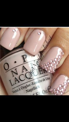 Baby pink nails with pink jewals