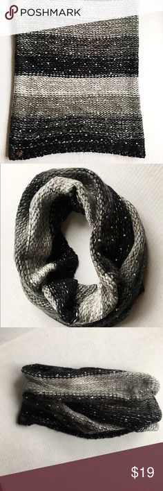 🌟Betsey Johnson black and gray infinity scarf🌟❄️ Betsey Johnson black and gray infinity scarf with little rhinestones sewn in. Made of 80% acrylic 20% polyester. Very soft❄️ Betsey Johnson Accessories Scarves & Wraps