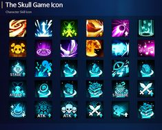 The Skull Skill Icon on Behance Human Drawing, Friend Anime, Ios App Icon, Game Icon, Game Design, Ux Design, Game Assets, Game Ui, Emoticon