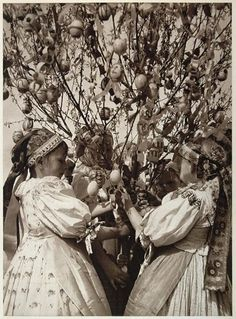 This is an original 1953 photogravure of a group of Slovakian children gathered around an Easter Egg tree on Easter Monday in Dvornik, Slovakia, in what was the former Czechoslovakia. Photograph by Karol Plicka. Easter Tree, Easter Eggs, Egg Tree, European Dress, Heart Of Europe, Dark Eyes, World Cultures, Vintage Pictures, Costumes