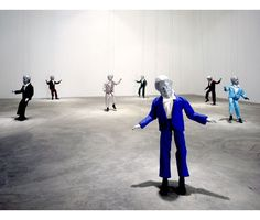 """For """"Theme for a Major Hit'' Dennis Oppenheim created motor-driven marionettes bearing the artist's likeness and a two-hour soundtrack. Dennis Oppenheim, Puppet Show, Conceptual Art, Santa Monica, Installation Art, Puppets, Art Museum, Body Art, Fine Art"""