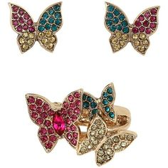 Betsey Johnson Super Sets Butterfly Ring And Earrings ($22) ❤ liked on Polyvore featuring jewelry, earrings, multi, colorful earrings, multi color stud earrings, stud earrings, earring charms and multi color earrings