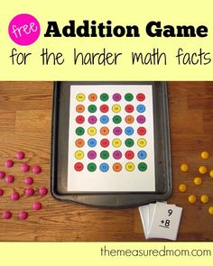 free addition game for the harder math facts Printable addition game for the tougher math facts Addition Games, Math Addition, Addition Strategies, Math For Kids, Fun Math, Easy Math, Math Resources, Math Activities, Therapy Activities