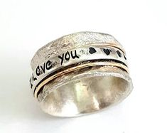Real jewelry for real people: handmade & by IlanAmirJewelry Valentine's Day Rings, Meditation Rings, Wide Rings, Sterling Silver Hoops, Hand Engraving, Rings For Men, Wedding Rings, Engagement Rings, Spinning