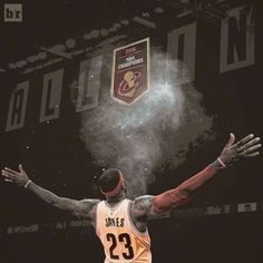 LeBron James and the Cleveland Cavaliers' championship banner.