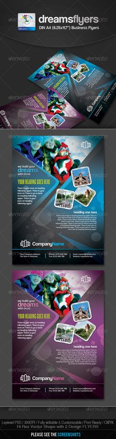 Buy Dreams Multipurpose Business Flyers by GraphicArtist on GraphicRiver. Dreams Multipurpose Business Flyer DIN print dimension with Bleed + Trim Mark, Well Layered Organised (. Business Flyers, Creative Flyers, Text Fonts, Vector Shapes, Corporate Flyer, Party Flyer, Print Templates, Pictures Images, Flyer Design