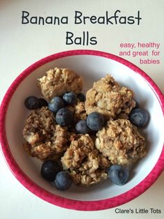 Banana Breakfast Balls. Yummy and easy to make healthy breakfast idea perfect for babies and toddlers and great for baby led weaning.