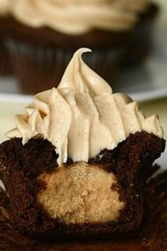 Peanut Butter Filled Chocolate Cupcakes with Peanut Butter Whipped Frosting