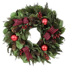 Perfect for your front porch or entryway, this preserved leaf wreath showcases ornament accents and a houndstooth ribbon.    Produ...