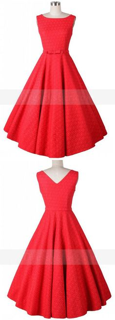 Red Vintage Style Pleated Swing Cocktail Party Dress