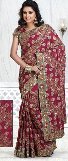 Pink Resham and Stone Work Crepe Silk Wedding Saree