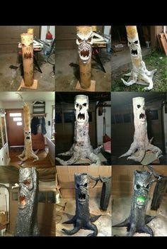 Haunted tree trunk DIY paper mache