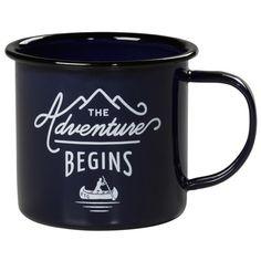 Navy Adventure Begins Printed Enamel Mug ($14) ❤ liked on Polyvore featuring home, kitchen & dining, drinkware, gentlemen's hardware, enamel mugs and bear mug