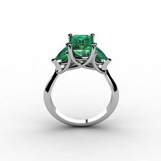 14k White Gold Classic Engagement or Wedding Ring with Emerald