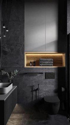 Toilet And Bathroom Design, Washroom Design, Best Bathroom Designs, Toilet Design, Bathroom Design Luxury, Loft Interior, Modern Interior Design, Interior Architecture, Dark Bathrooms