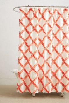 Anthropologie Ruffled Trellis Shower Curtain  #anthrofave #anthropologie