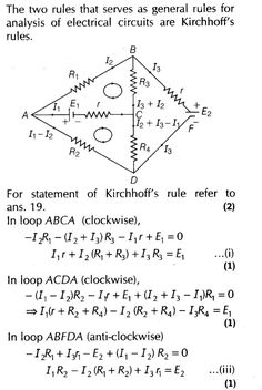 Current Electricity Important Questions for CBSE Class 12 Physics Kirchhoff's Laws and Electric Devices