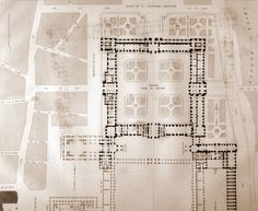 Cour Carree at the Louvre. Louvre Palace, Le Palais, Architectural Drawings, Beautiful Drawings, Architecture Plan, Building Plans, Palaces, Napoleon, Graphite