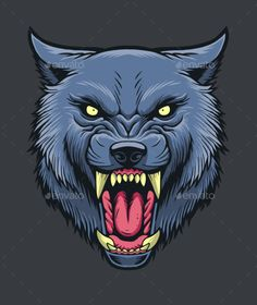 Detailed wolf head illustration. suitable for apparel designs and also as logo elements