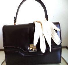 808ecf17e4 60s Retro Kelly Handbag Espresso Brown top handle Structured bag Mod Jackie  O Doctor Vintage Leather Satchel Tote purse Movie Costume Prop