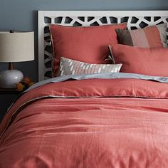 Linen Cotton Blend Duvet Cover + Shams - Lotus Pink #WestElm..perfect color for her room