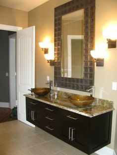 A bathroom vanity area