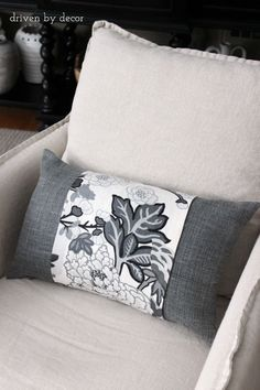 Simple tutorial for dressing up a neutral pillow with a designer fabric remnant