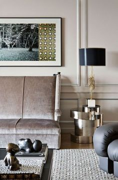 dusty mauve living room with crushed velvet sofa and metallic side table // living rooms
