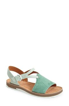 Camper 'Pimpom' Sandal calf hair/leather light pastel green .5h sz38 159.95