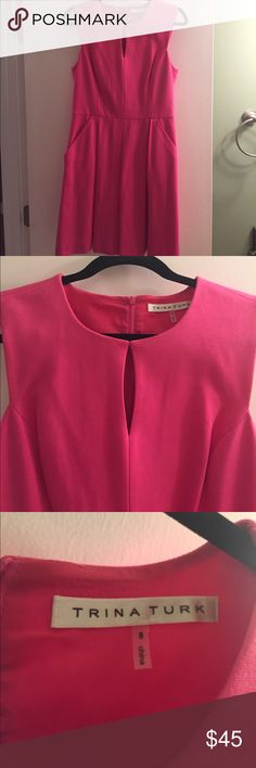 Trina Turk sleeveless dress Super soft Trina Turk dress in an amazing hot pink! Bonus: it has pockets! Incredibly comfortable, and able to transition throughout the seasons! Very gently worn, perfect condition. Trina Turk Dresses