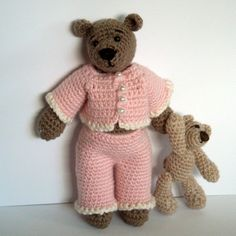 Thursday Handmade Love week 66 Theme: Teddy Bears Includes links to #free #crochet patterns  Instant Download - PDF Pattern - Tilda the Bear in Pyjamas and her Teddy Bear. Availble in English or Swedish. via Etsy