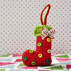 Christmas socks ornament  crochet pattern DIY by VendulkaM on Etsy