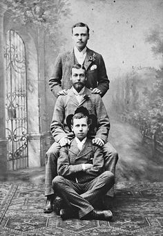 Three grandsons of Queen Victoria (from top to bottom): Prince Ernest Louis of Hesse (1868-1937), later the Grand Duke of Hesse; Prince George of Wales (1865-1936), later King George V; Prince Alfred of Edinburgh (1874-1899), later Prince Alfred of Saxe-Coburg and Gotha.