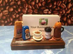 Polymer clay Coffee business card by NaomisSweetStuff on Etsy, $30.00