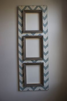 3 Multi Opening CHEVRON Distressed Picture Frame 8x10 Chevron Meditative BLue and Man Cave Grey trims. $195.00, via Etsy.