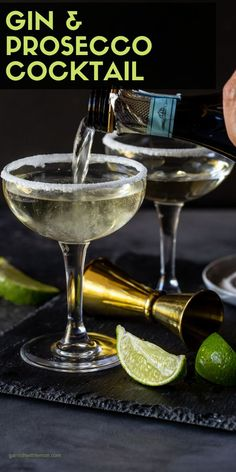 Everyone loves bubbles and a signature cocktail makes any party special. Add some cheer to your holiday party menu with this mouthwatering Elderflower, Gin & Prosecco Cocktail! One sip and you will see why people love it! Gin Martini Recipe, Batch Cocktail Recipe, Best Cocktail Recipes, Gin And Prosecco Cocktail, Signature Cocktail, Drinks Alcohol Recipes, Drink Recipes, Lemon Recipes
