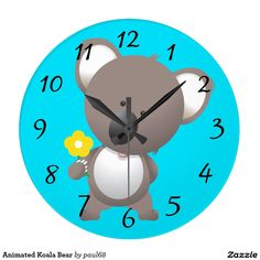 Animated Koala Bear Large Clock