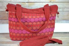 Market style Tote bag, purse / Made in the USA / Fall Shades of Fushia, pink tweed, squash orange, red wool Messenger / Darby Mack in stock