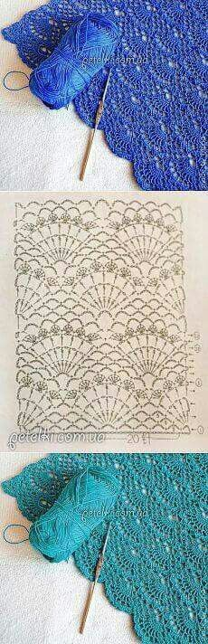 Openwork crochet shell diagram Could be used on just about anything but I can picture this as a lovely shawl or wrap in an Aran or DK/Sport weight yarn :-) Beau Crochet, Mode Crochet, Crochet Diy, Crochet Motifs, Crochet Diagram, Crochet Stitches Patterns, Crochet Chart, Crochet Designs, Knitting Patterns