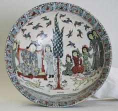 Bowl (Enthronement Scene). Iran. Seljuq dynasty, late 12th-early 13th century. Ceramic, mina'i or haft rangi (seven-color) ware; frit body, opaque glaze with in-glaze painting, overglaze painting, and leaf gilding,
