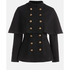Double Breasted High Waist Short Capelet Coat ($52) ❤ liked on Polyvore featuring outerwear, coats, short double breasted coat, double breasted coat, short coat, capelet coat and high waist coat